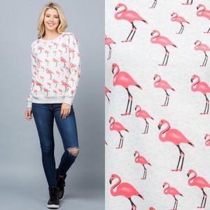Flamingo Animal Print Pullover Sweater Sweatshirt